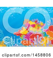Clipart Of A Backdrop Of A Colorful Coral Reef Royalty Free Illustration
