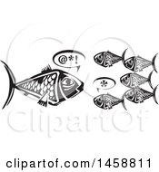 Clipart Of A Black And White Woodcut Big Fish Speaking To Smaller Fish Royalty Free Vector Illustration