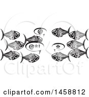 Clipart Of A Black And White Woodcut Group Of Fish Talking Royalty Free Vector Illustration