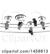 Clipart Of A Black And White Woodcut Group Of Birds Talking On Wires Royalty Free Vector Illustration