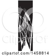 Clipart Of A Black And White Woodcut Panel Of Wheat Stalks Royalty Free Vector Illustration