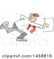 Cartoon Stressed Business Man Rushing A Document