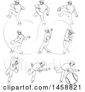 Poster, Art Print Of Black And White Baseball Player Pitching Shown In Different Phases Of Movement Black And White Mono Line Style