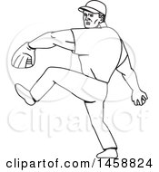 Poster, Art Print Of Black And White Baseball Player Pitching Black And White Mono Line Style