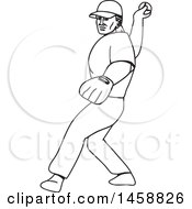 Black And White Baseball Player Pitching Black And White Mono Line Style