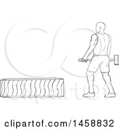 Poster, Art Print Of Black And White Athlete Hitting A Tire With A Hammer In Sketch Style