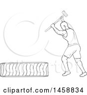 Black And White Athlete Hitting A Tire With A Hammer In Sketch Style