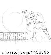 Clipart Of A Black And White Athlete Hitting A Tire With A Hammer In Sketch Style Royalty Free Vector Illustration by patrimonio