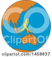 Poster, Art Print Of Marathon Runner On A Globe Featuring Asia In Sketched Drawing Style