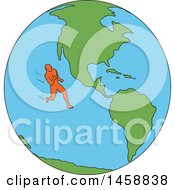 Poster, Art Print Of Marathon Runner On A Globe Featuring The Americas In Sketched Drawing Style