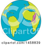 Poster, Art Print Of Marathon Runner On A Globe Featuring South America And Africa In Sketched Drawing Style