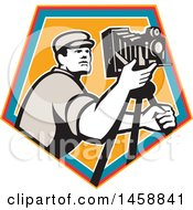 Clipart Of A Retro Camera Man With A Tripod In A Crest Royalty Free Vector Illustration by patrimonio
