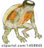 Poster, Art Print Of Crouching Kappa Demon Turtle In Sketched Drawing Style