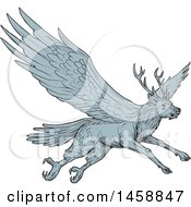 Peryton Flying Eagle Deer In Sketched Drawing Style