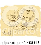 Clipart Of A Pirate Treasure Map With An Island And Sea Monster In Sketched Drawing Style Royalty Free Vector Illustration