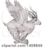 Clipart Of A Wolpertinger Deer Rabbit In Sketched Drawing Style Royalty Free Vector Illustration by patrimonio