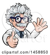 Cartoon Senior Male Scientist Giving A Thumb Up And Waving Over A Sign