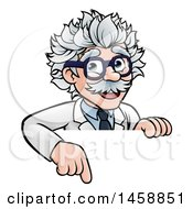 Cartoon Senior Male Scientist Pointing Down Over A Sign