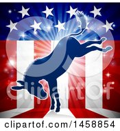 Clipart Of A Blue Silhouette Of A Kicking Democratic Donkey Over An American Flag Themed Burst Royalty Free Vector Illustration