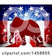 Red Silhouette Of A Republican Elephant Over An American Flag Themed Burst