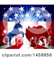 Poster, Art Print Of Silhouetted Political Democratic Donkey Or Horse And Republican Elephant Fighting Over An American Design And Burst