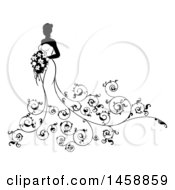 Clipart Of A Silhouetted Black And White Bride With Swirls Royalty Free Vector Illustration