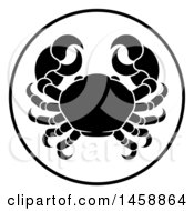 Clipart Of A Black And White Zodiac Horoscope Astrology Cancer Crab Circle Design Royalty Free Vector Illustration