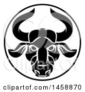 Clipart Of A Black And White Zodiac Horoscope Astrology Taurus Bull Circle Design Royalty Free Vector Illustration