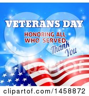 Poster, Art Print Of 3d Waving American Flag With Veterans Day Honoring All Who Served Thank You Text And Sky