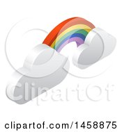 Clipart Of A 3d Rainbow Arch And Clouds Weather Icon Royalty Free Vector Illustration by AtStockIllustration