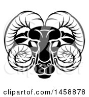 Clipart Of A Black And White Zodiac Horoscope Astrology Aries Ram Design Royalty Free Vector Illustration