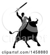 Clipart Of A Black And White Silhouetted Business Man Holding A Sword And Riding A Stock Market Bull Royalty Free Vector Illustration by AtStockIllustration