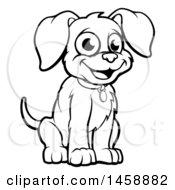 Black And White Cartoon Puppy Dog