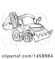 Clipart Of A Black And White Bulldozer Royalty Free Vector Illustration by AtStockIllustration