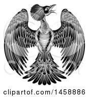 Clipart Of A Black And White Woodcut Or Engraved Phoenix Firebird Royalty Free Vector Illustration