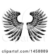 Poster, Art Print Of Black And White Pair Of Feathered Wings