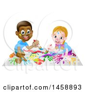 Clipart Of A Cartoon Happy White Girl And Black Boy Kneeling And Painting Artwork Royalty Free Vector Illustration