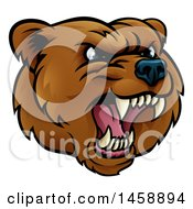 Clipart Of A Mad Grizzly Bear Mascot Head Royalty Free Vector Illustration