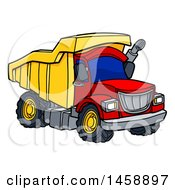 Clipart Of A Cartoon Dump Truck Royalty Free Vector Illustration