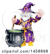 Clipart Of A Happy Old Bearded Wizard Mixing A Potion And Waving Royalty Free Vector Illustration