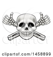 Human Skull Over Crossbone Arms Giving Thumbs Up