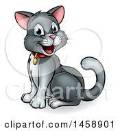 Cartoon Happy Sitting Gray And White Kitty Cat