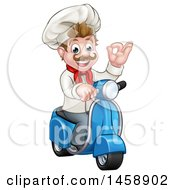 Cartoon Happy White Male Chef Gesturing Ok On A Delivery Scooter