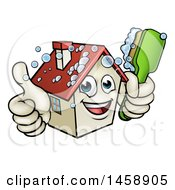 Cartoon Happy House Character Giving A Thumb Up And Cleaning Itself With A Brush