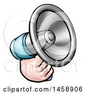 Clipart Of A Cartoon Hand Holding A Megaphone Royalty Free Vector Illustration