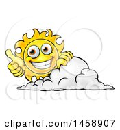 Poster, Art Print Of Cartoon Happy Sun Character Holding A Thumb Up Over A Cloud