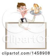 White Male Waiter With A Curling Mustache Holding A Hot Dog On A Platter Over A Blank Menu Sign