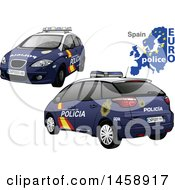 Clipart Of A Spanish Police Car With A Map And Euro Police Text Royalty Free Vector Illustration by dero