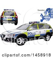 Clipart Of A Swedish Police Car With A Map And Euro Police Text Royalty Free Vector Illustration by dero