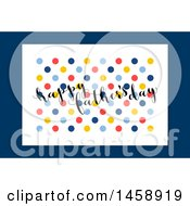 Clipart Of A Happy Fathers Day Dot Design Over Blue Royalty Free Vector Illustration